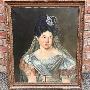 19th Century French Oil on Canvas Portrait of a Young Woman
