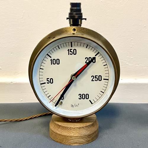 Large Pressure Gauge Clock Lamp image-1