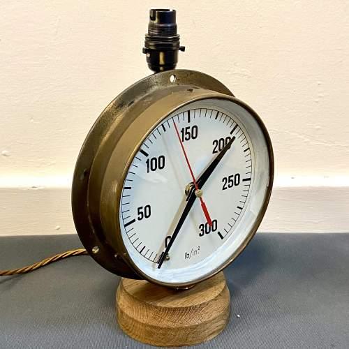 Large Pressure Gauge Clock Lamp image-2