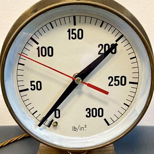 Large Pressure Gauge Clock Lamp image-3