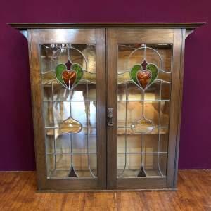 Art Nouveau Leaded Glass Oak Bookcase