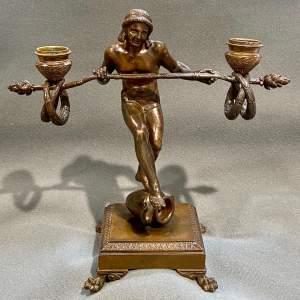 Quality Art Deco French Bronze Figural Table Candelabra