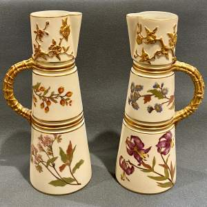 Pair of 19th Century Royal Worcester Hand Painted Jugs