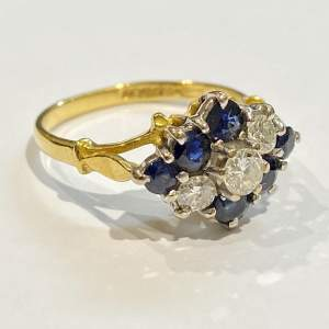 Art Deco 18ct Yellow Gold Sapphire and Diamond Ring