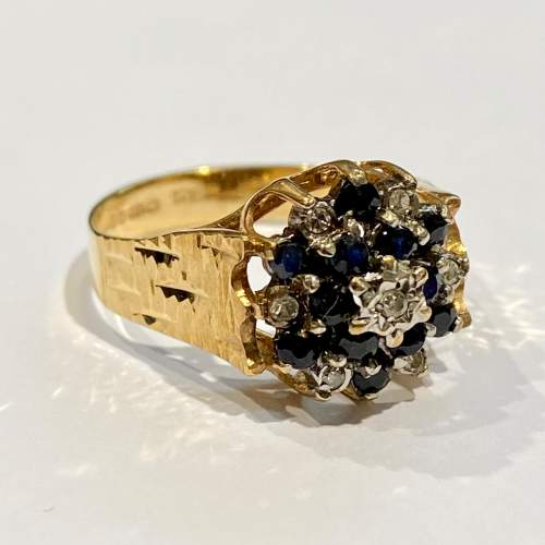 20th Century 9ct Yellow Gold Sapphire and Diamond Cluster Ring image-1