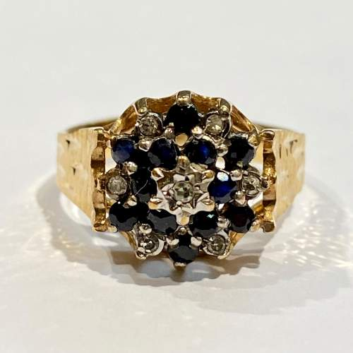20th Century 9ct Yellow Gold Sapphire and Diamond Cluster Ring image-2