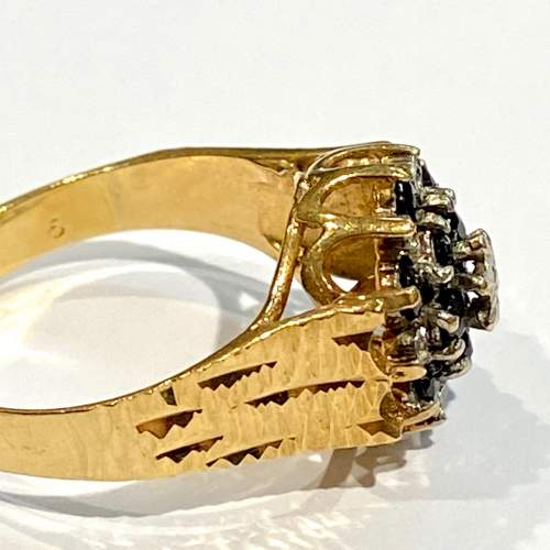 20th Century 9ct Yellow Gold Sapphire and Diamond Cluster Ring image-3