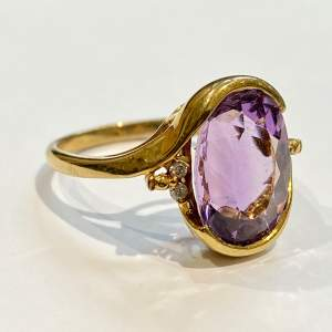 20th Century 9ct Yellow Gold Amethyst and Diamond Ring