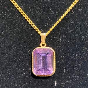 Vintage 9ct Amethyst Pendant and Gold Chain