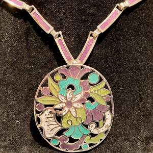 Mexican Silver Enamel Three in One Necklace Pendant and Brooch