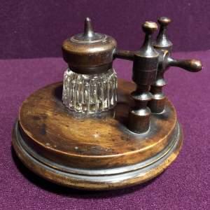 Victorian Desk Wooden Inkwell