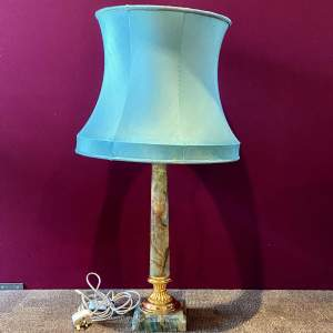 Vintage Empire Style Polished Marble Table Lamp