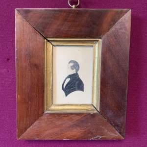 Georgian Miniature Portrait in Mahogany Frame