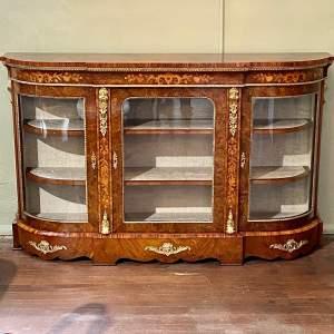 Victorian Marquetry Inlaid Burr Walnut Credenza
