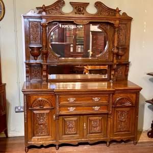 Very Large Victorian Mirror Back Oak Sideboard