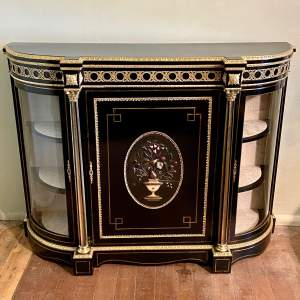 Victorian Ebonised Credenza with Hard Stone Panel