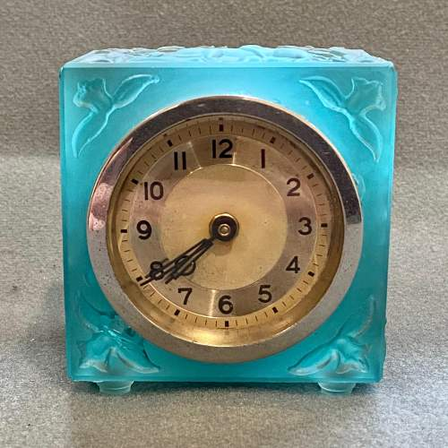 Art Deco Blue Glass Cube Boudoir Clock image-1