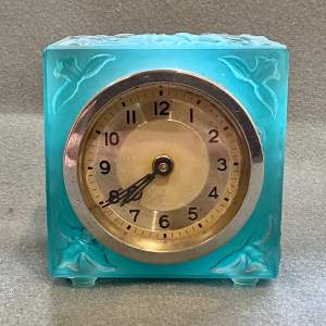 Art Deco Blue Glass Cube Boudoir Clock