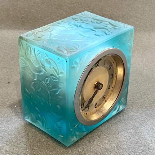 Art Deco Blue Glass Cube Boudoir Clock image-2