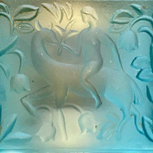 Art Deco Blue Glass Cube Boudoir Clock image-3