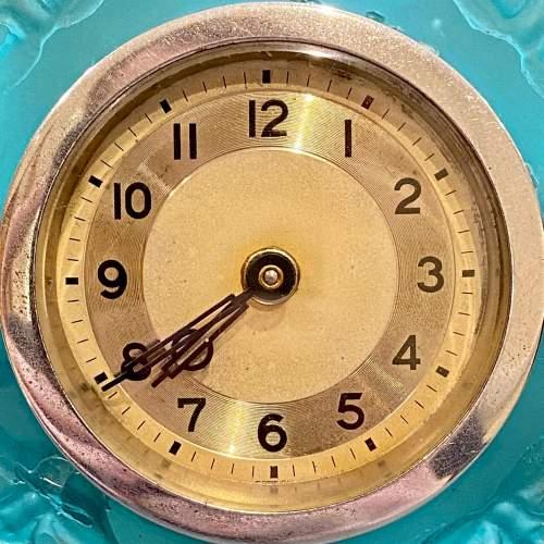 Art Deco Blue Glass Cube Boudoir Clock image-5