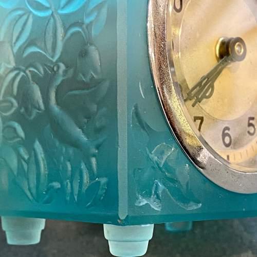 Art Deco Blue Glass Cube Boudoir Clock image-4