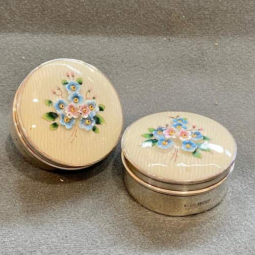 Pair of Silver Poudre Holders with China Tops image-1