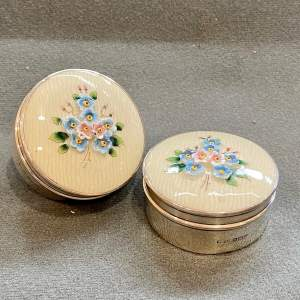 Pair of Silver Poudre Holders with China Tops