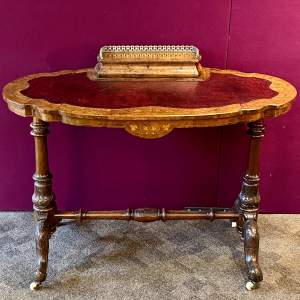19th Century Inlaid Burr Walnut Scalloped Ladies Writing Table
