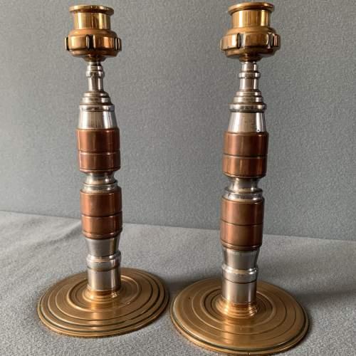 Art Deco Pair of Tri Metal Candlesticks image-1