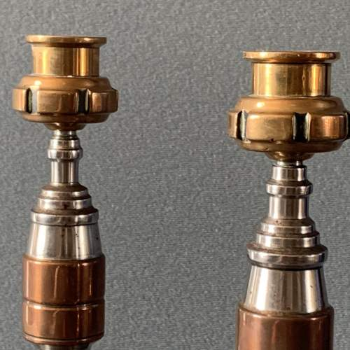 Art Deco Pair of Tri Metal Candlesticks image-4