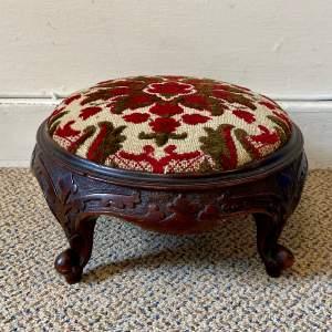 Georgian Carved Walnut Footstool