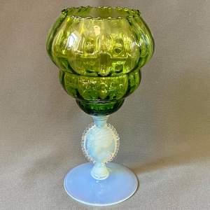 Nailsea Vaseline Glass Cameo Vase
