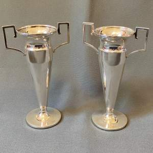 Pair of George V Art Deco Silver Urn Vases