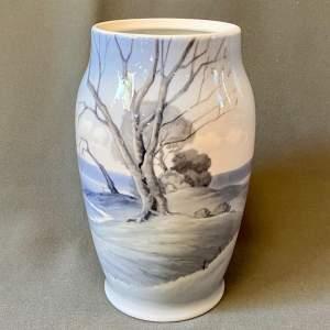 Rare Large  Bing and Grondahl Landscape Scene Vase