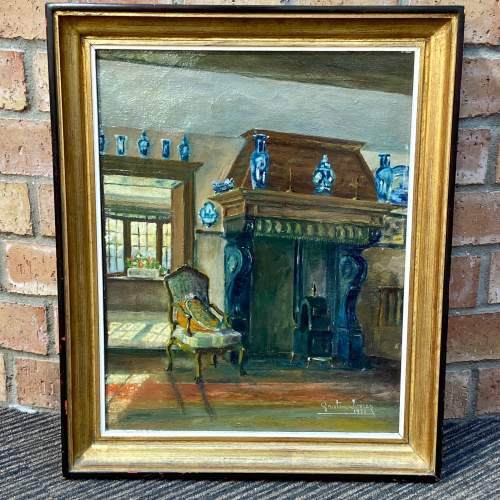 Original Oil on Canvas of a Manor House Interior image-1