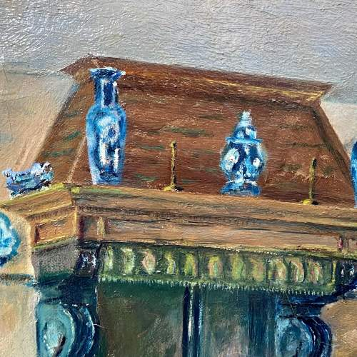 Original Oil on Canvas of a Manor House Interior image-2