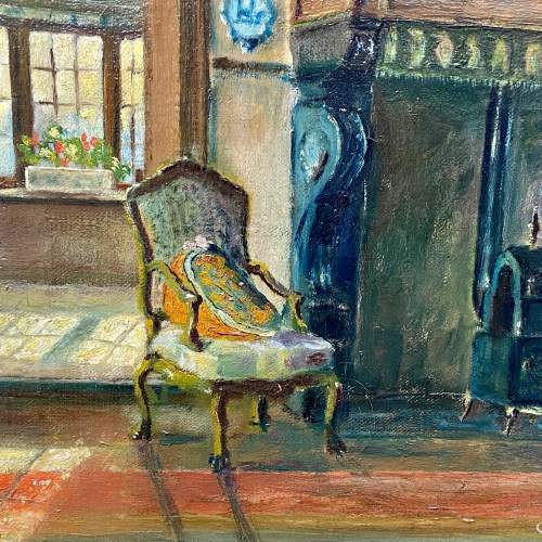 Original Oil on Canvas of a Manor House Interior image-3
