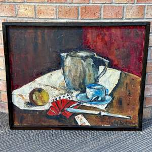 Original Oil on Canvas Still Life of Jug with Playing Cards