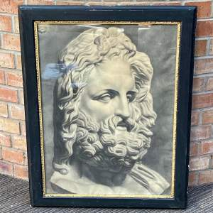 Original Charcoal Drawing of a Marble Bust