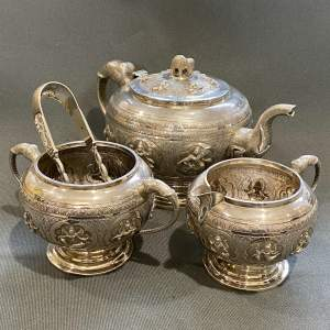 19th Century Solid Silver Four Piece Indian Colonial Tea Set