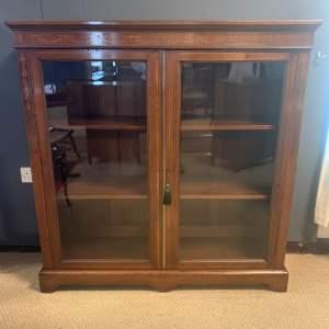 19th Century Glazed Inlaid Mahogany Bookcase