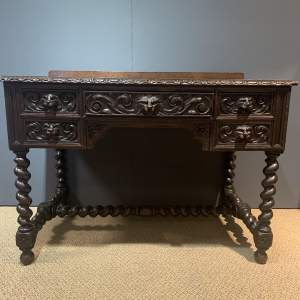 Victorian Carved Oak Green Man Writing Table