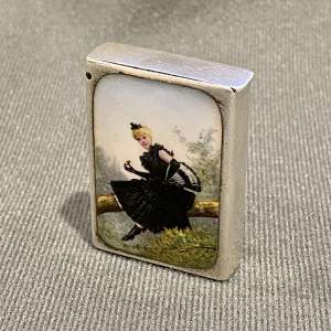 Victorian Silver Vesta Case with Enamel Image of a Young Girl
