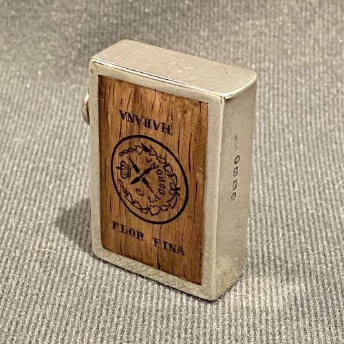 Victorian Silver Vesta Case with Enamel Image of a Cigar Box image-1
