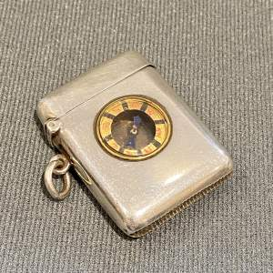Victorian Silver Vesta Case with Inset Compass