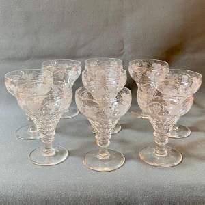 Set of Nine 19th Century Vine Etched Stemmed Wine Glasses