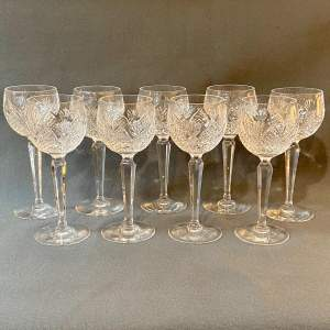 Set of Nine Waterford Clare Hock Glasses