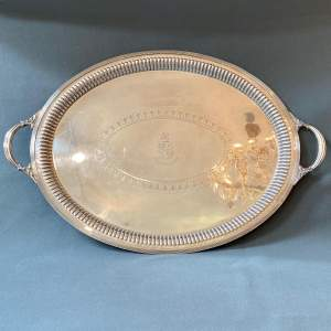 20th Century Large Silver Plated Oval Twin Handled Tray