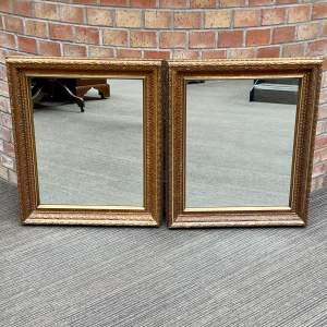 Pair of Early 20th Century Large Rectangular Gilt Wall Mirrors